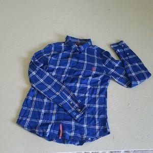 Cobalt and white window pane button up shirt